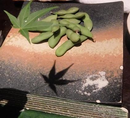 枝豆に楓の影