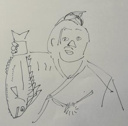 鯛を持つ優勝力士