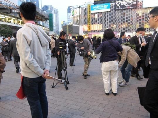 新橋SL広場の撮影風景