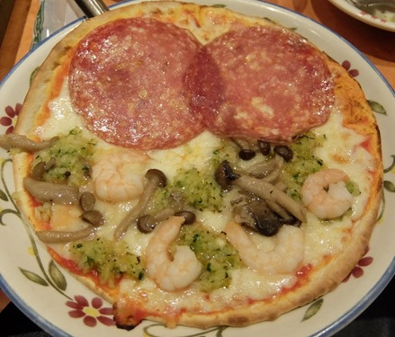 ピザを2つに